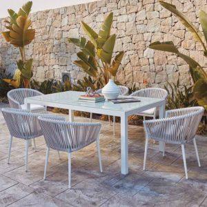 202005142 - Висока трапезарна маса за градина с елегантен дизайн в бял цвят. Размери: 150*150*75см