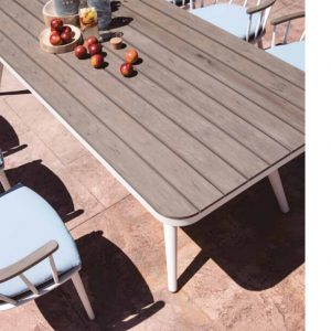 202005155 - Красива трапезарна маса със заоблени ъгли и бяла основа - Размери: 240*102*76см